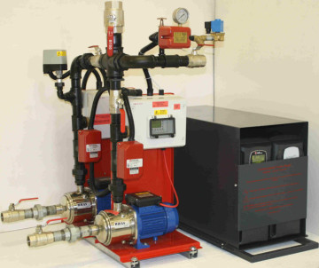 BS9251 dual fire sprinkler pump system with fully automatic weekly testing