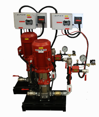 DUTY STANDBY COMMUNICATING FIRE PUMPS FOR BS9251 2014. Each pump communicates it is in jockey mode or weekly test mode